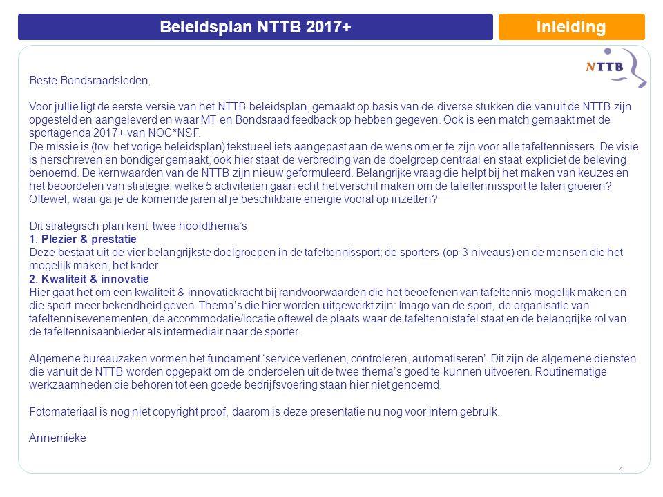 InleidingBeleidsplan NTTB 2017+ Beste Bondsraadsleden, Voor jullie ligt de eerste versie van het NTTB beleidsplan, gemaakt op basis van de diverse stukken die vanuit de NTTB zijn opgesteld en aangeleverd en waar MT en Bondsraad feedback op hebben gegeven.
