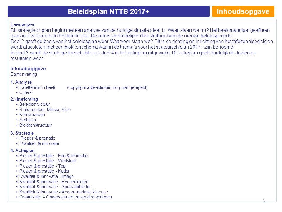 InhoudsopgaveBeleidsplan NTTB 2017+ Leeswijzer Dit strategisch plan begint met een analyse van de huidige situatie (deel 1).