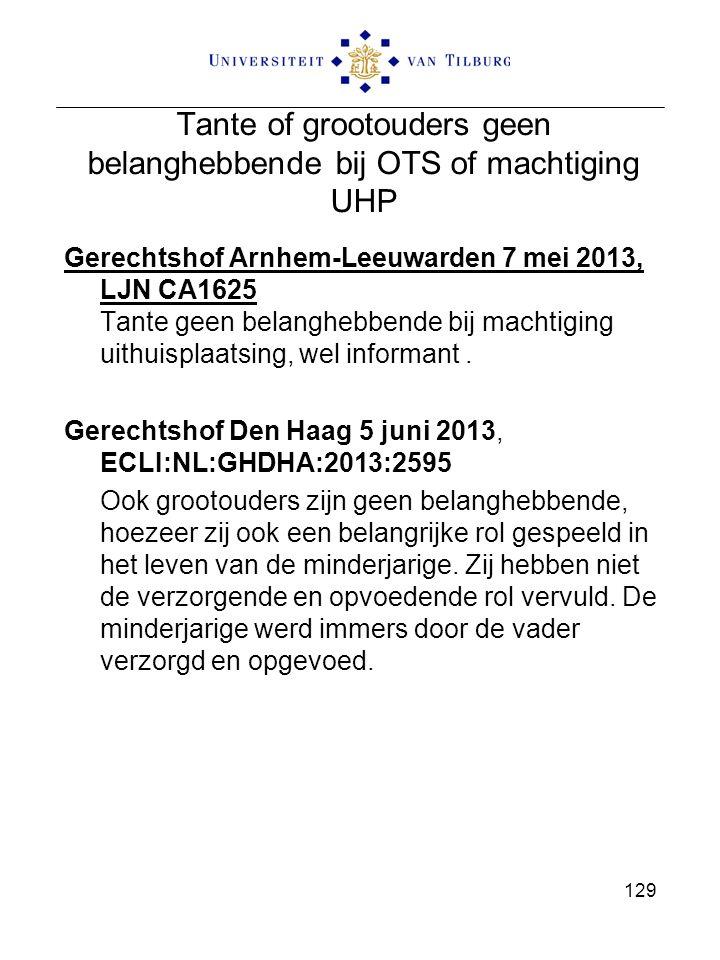 Tante of grootouders geen belanghebbende bij OTS of machtiging UHP Gerechtshof Arnhem-Leeuwarden 7 mei 2013, LJN CA1625 Tante geen belanghebbende bij