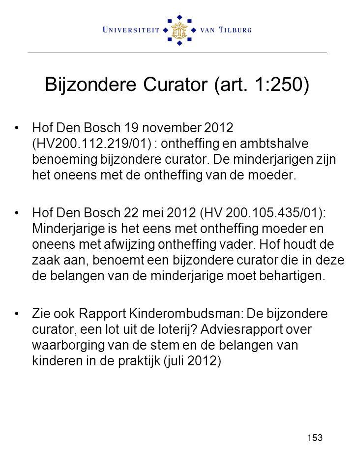 Bijzondere Curator (art. 1:250) Hof Den Bosch 19 november 2012 (HV200.112.219/01) : ontheffing en ambtshalve benoeming bijzondere curator. De minderja