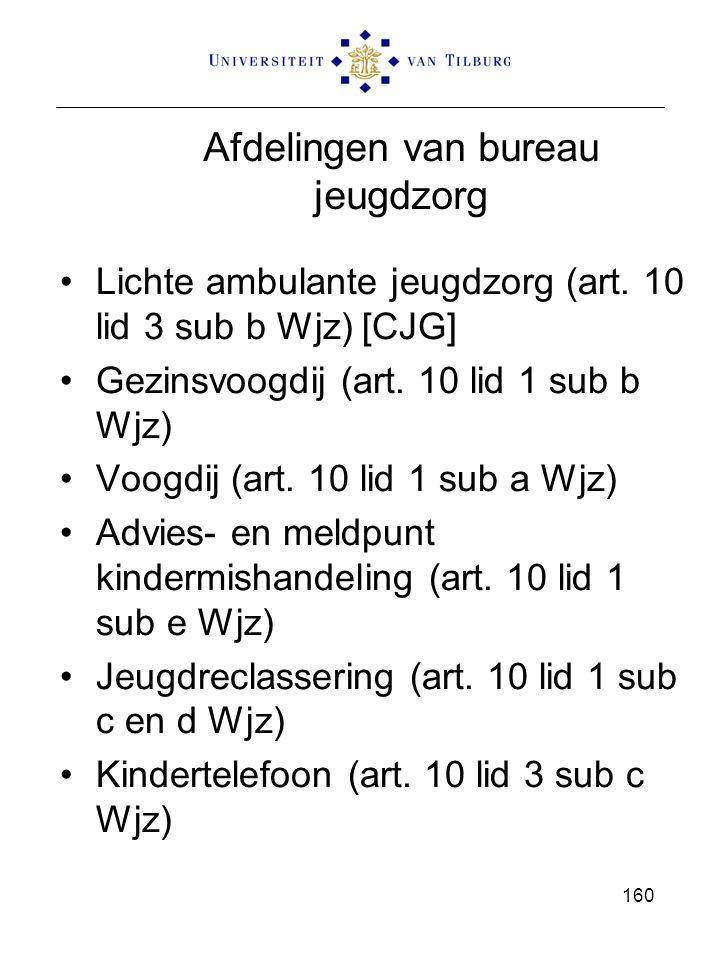 Afdelingen van bureau jeugdzorg Lichte ambulante jeugdzorg (art. 10 lid 3 sub b Wjz) [CJG] Gezinsvoogdij (art. 10 lid 1 sub b Wjz) Voogdij (art. 10 li