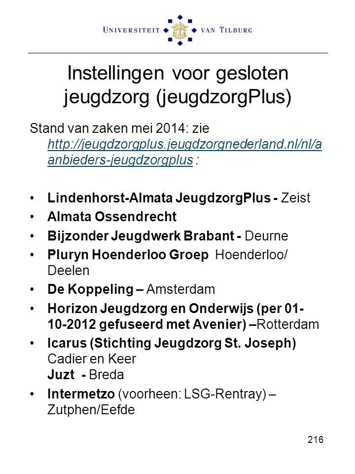 Instellingen voor gesloten jeugdzorg (jeugdzorgPlus) Stand van zaken mei 2014: zie http://jeugdzorgplus.jeugdzorgnederland.nl/nl/a anbieders-jeugdzorg