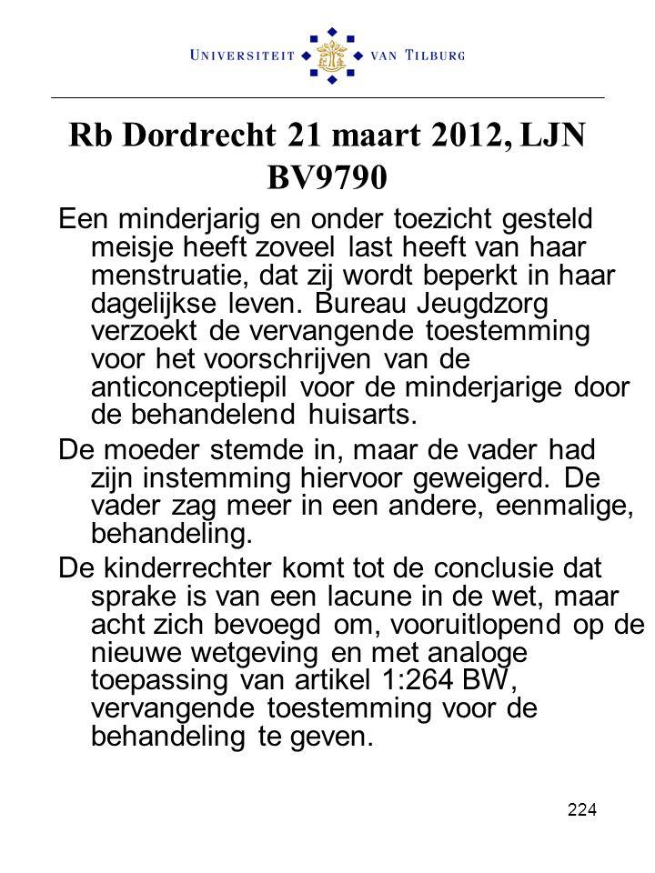 Rb Dordrecht 21 maart 2012, LJN BV9790 Een minderjarig en onder toezicht gesteld meisje heeft zoveel last heeft van haar menstruatie, dat zij wordt be