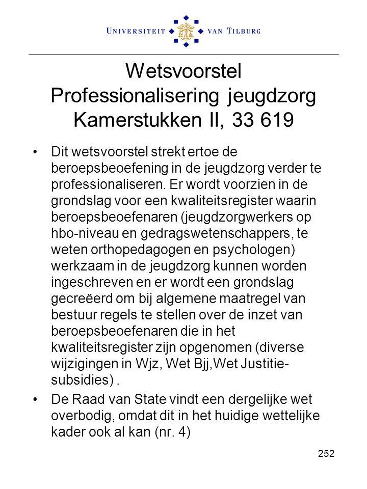 Wetsvoorstel Professionalisering jeugdzorg Kamerstukken II, 33 619 Dit wetsvoorstel strekt ertoe de beroepsbeoefening in de jeugdzorg verder te professionaliseren.