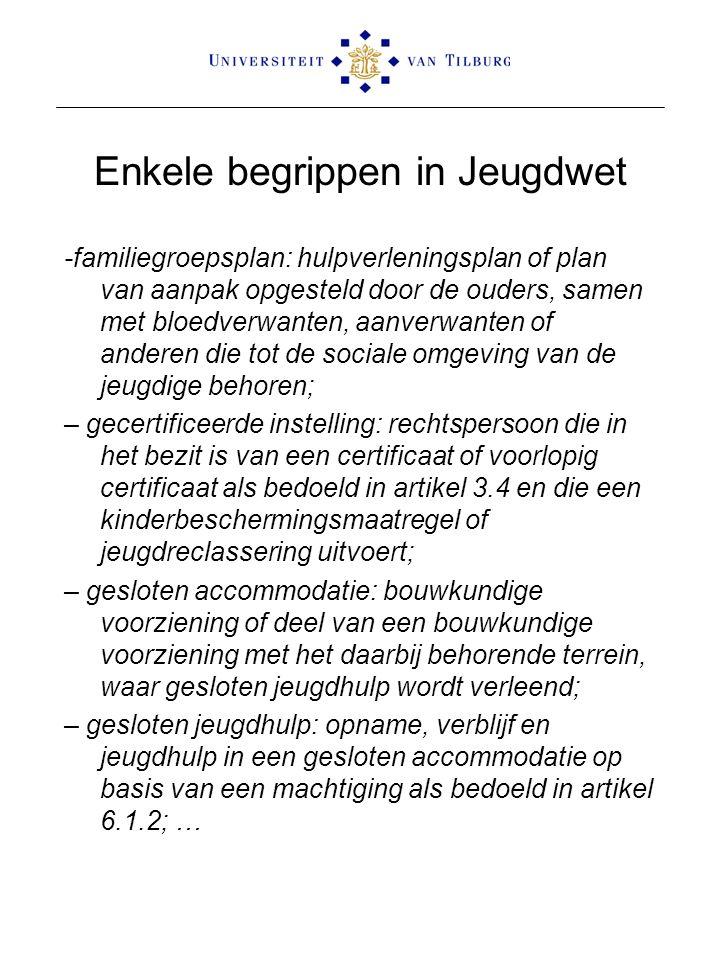 Enkele begrippen in Jeugdwet -familiegroepsplan: hulpverleningsplan of plan van aanpak opgesteld door de ouders, samen met bloedverwanten, aanverwante