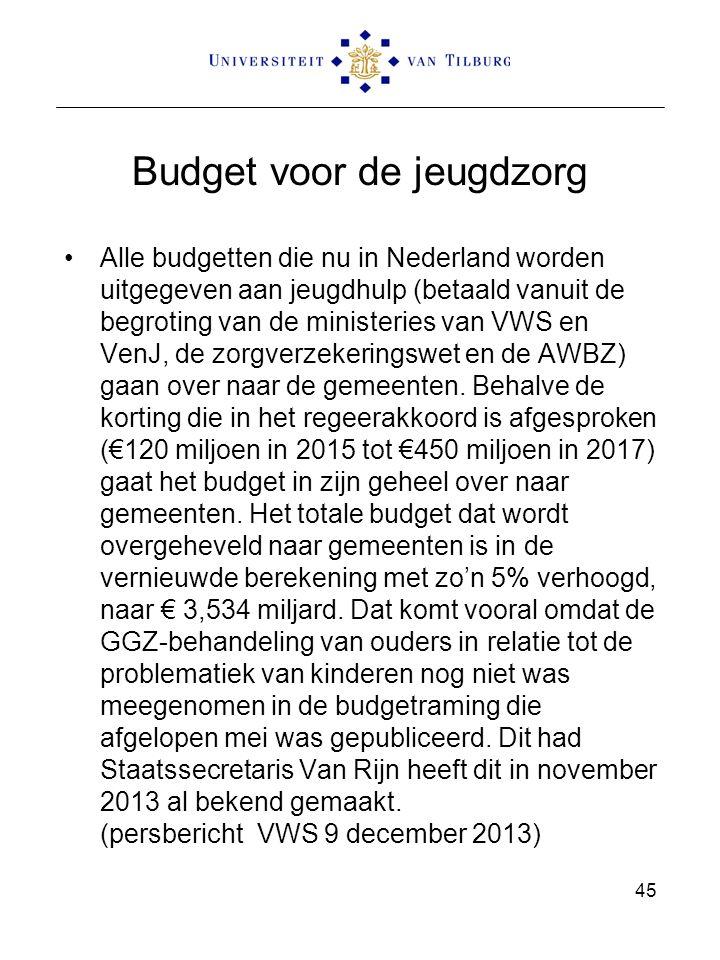 Budget voor de jeugdzorg Alle budgetten die nu in Nederland worden uitgegeven aan jeugdhulp (betaald vanuit de begroting van de ministeries van VWS en VenJ, de zorgverzekeringswet en de AWBZ) gaan over naar de gemeenten.