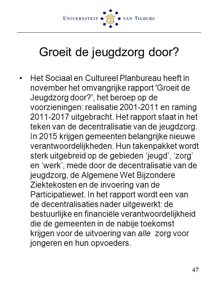 Groeit de jeugdzorg door? Het Sociaal en Cultureel Planbureau heeft in november het omvangrijke rapport 'Groeit de Jeugdzorg door?', het beroep op de