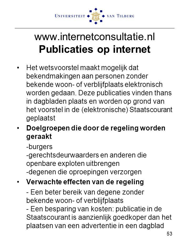 www.internetconsultatie.nl Publicaties op internet Het wetsvoorstel maakt mogelijk dat bekendmakingen aan personen zonder bekende woon- of verblijfpla