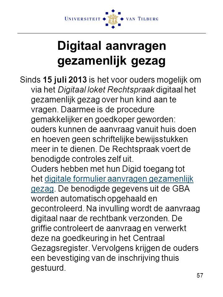 Digitaal aanvragen gezamenlijk gezag Sinds 15 juli 2013 is het voor ouders mogelijk om via het Digitaal loket Rechtspraak digitaal het gezamenlijk gez