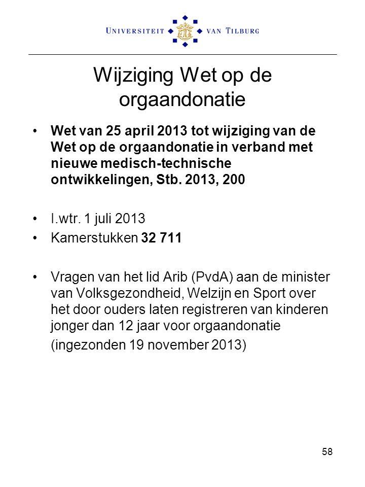 Wijziging Wet op de orgaandonatie Wet van 25 april 2013 tot wijziging van de Wet op de orgaandonatie in verband met nieuwe medisch-technische ontwikke