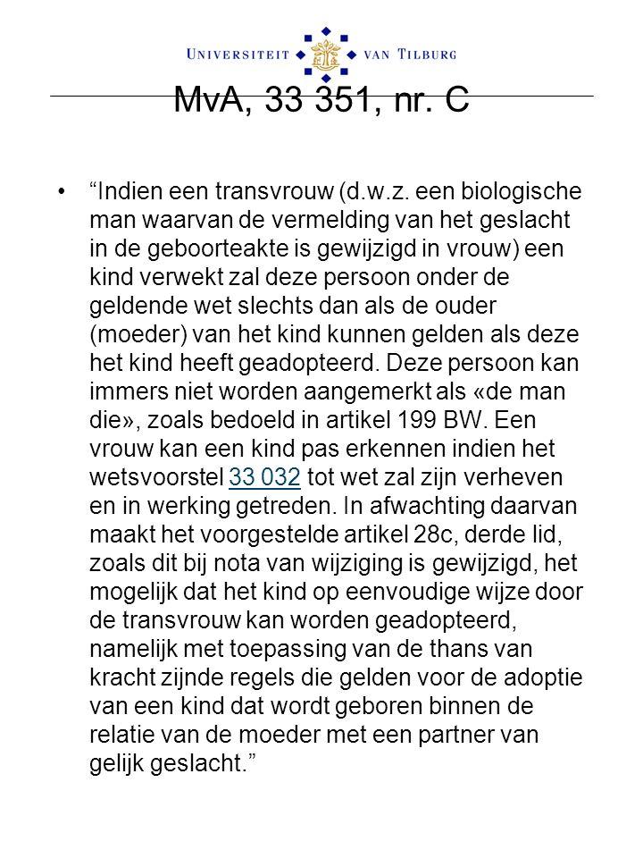"""MvA, 33 351, nr. C """"Indien een transvrouw (d.w.z. een biologische man waarvan de vermelding van het geslacht in de geboorteakte is gewijzigd in vrouw)"""
