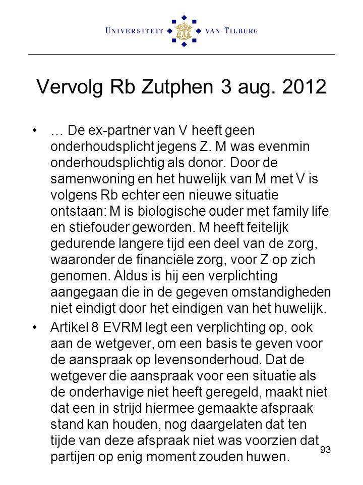 Vervolg Rb Zutphen 3 aug. 2012 … De ex-partner van V heeft geen onderhoudsplicht jegens Z. M was evenmin onderhoudsplichtig als donor. Door de samenwo