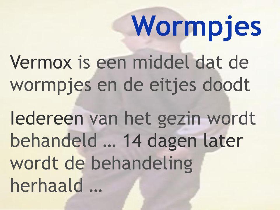 Wormpjes Vermox is een middel dat de wormpjes en de eitjes doodt Iedereen van het gezin wordt behandeld … 14 dagen later wordt de behandeling herhaald