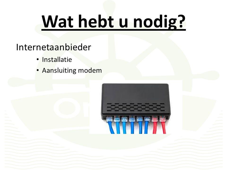 Wat hebt u nodig Internetaanbieder Installatie Aansluiting modem