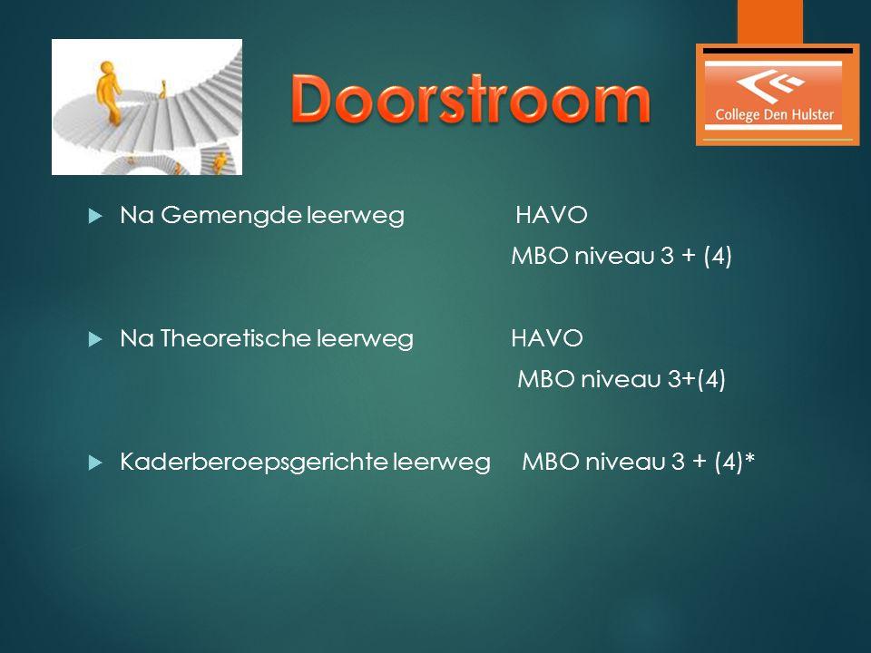  Na Gemengde leerweg HAVO MBO niveau 3 + (4)  Na Theoretische leerweg HAVO MBO niveau 3+(4)  Kaderberoepsgerichte leerweg MBO niveau 3 + (4)*