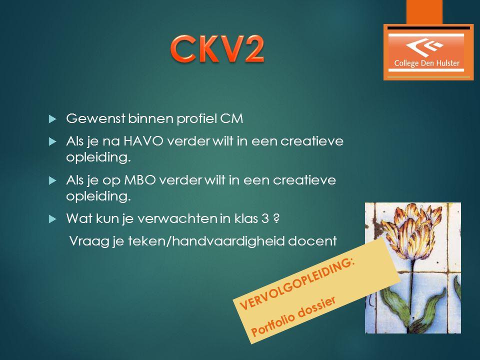  Gewenst binnen profiel CM  Als je na HAVO verder wilt in een creatieve opleiding.  Als je op MBO verder wilt in een creatieve opleiding.  Wat kun