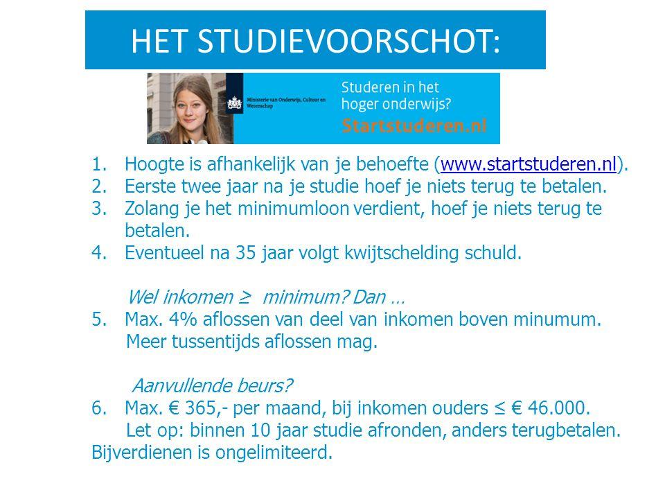 HET STUDIEVOORSCHOT: 1.Hoogte is afhankelijk van je behoefte (www.startstuderen.nl).www.startstuderen.nl 2.Eerste twee jaar na je studie hoef je niets