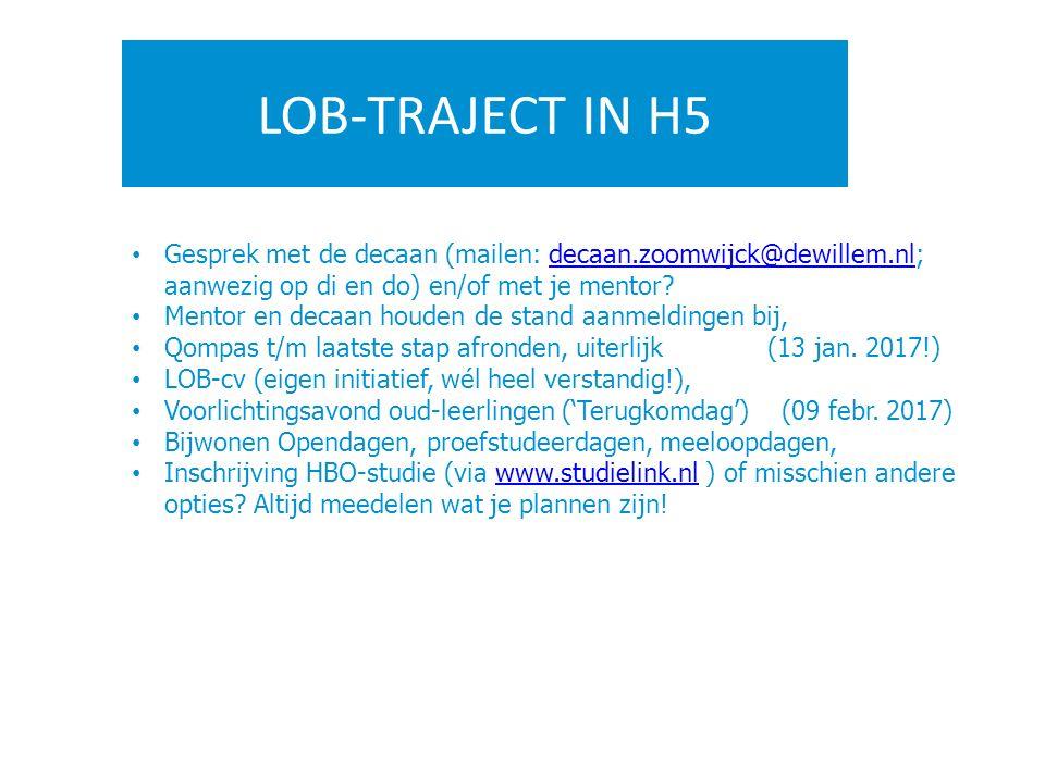 LOB-TRAJECT IN H5 Gesprek met de decaan (mailen: decaan.zoomwijck@dewillem.nl; aanwezig op di en do) en/of met je mentor?decaan.zoomwijck@dewillem.nl