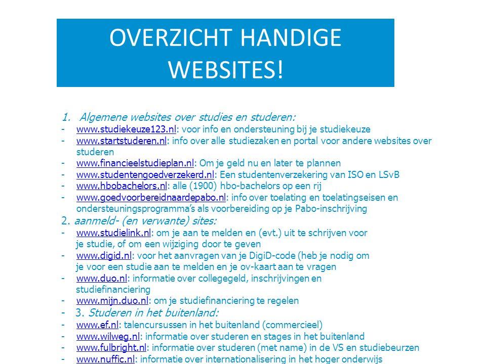 OVERZICHT HANDIGE WEBSITES! 1.Algemene websites over studies en studeren: -www.studiekeuze123.nl: voor info en ondersteuning bij je studiekeuzewww.stu