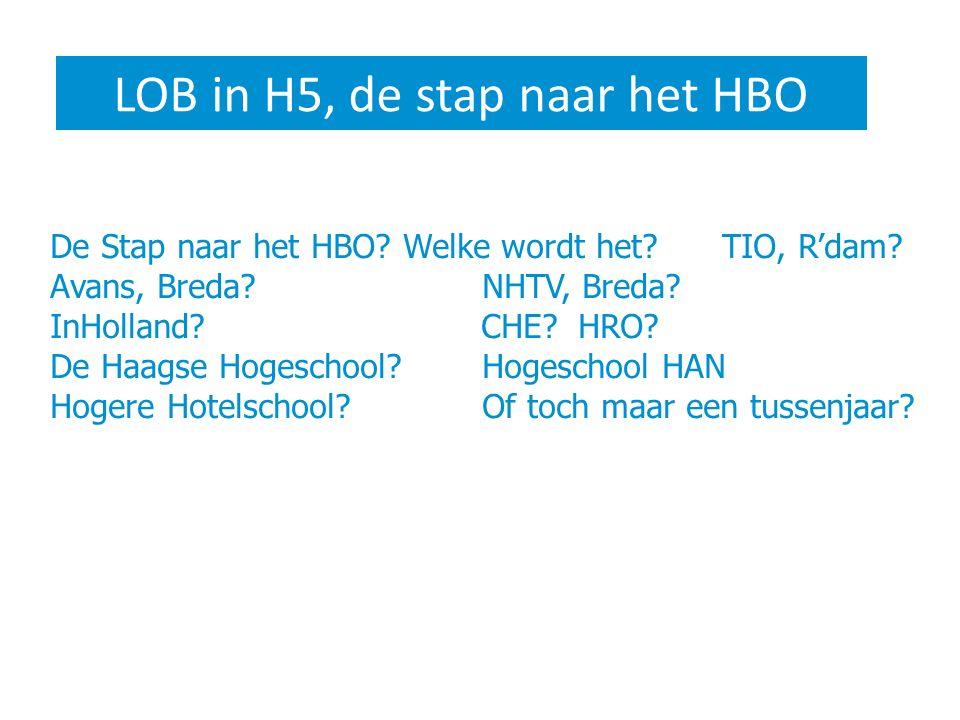 LOB in H5, de stap naar het HBO De Stap naar het HBO? Welke wordt het?TIO, R'dam? Avans, Breda?NHTV, Breda? InHolland? CHE?HRO? De Haagse Hogeschool?H