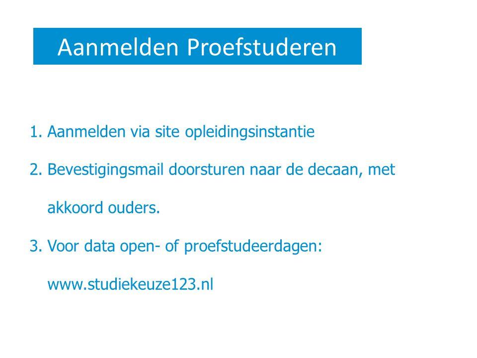 Aanmelden Proefstuderen 1.Aanmelden via site opleidingsinstantie 2.Bevestigingsmail doorsturen naar de decaan, met akkoord ouders. 3.Voor data open- o