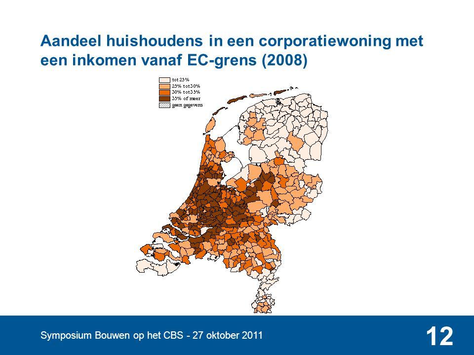 Symposium Bouwen op het CBS - 27 oktober 2011 12 Aandeel huishoudens in een corporatiewoning met een inkomen vanaf EC-grens (2008)
