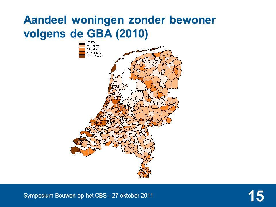 Symposium Bouwen op het CBS - 27 oktober 2011 15 Aandeel woningen zonder bewoner volgens de GBA (2010)