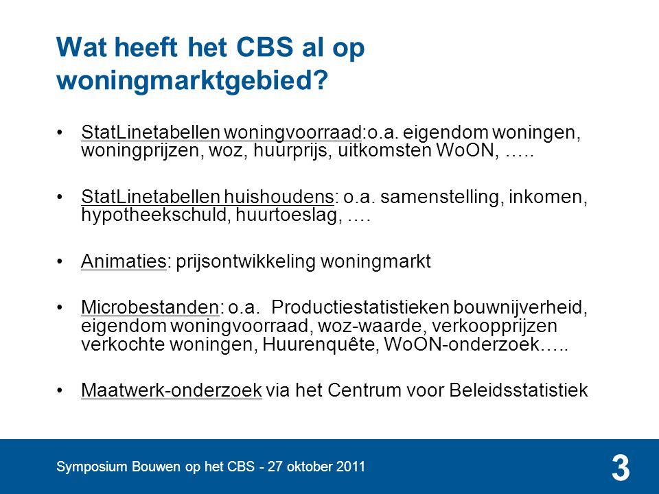 Symposium Bouwen op het CBS - 27 oktober 2011 3 Wat heeft het CBS al op woningmarktgebied.