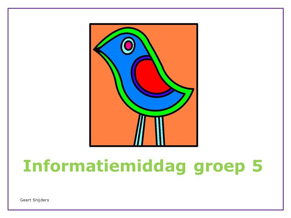 Leerkrachten groep 5 Geert Snijders van maandag t/m donderdag.