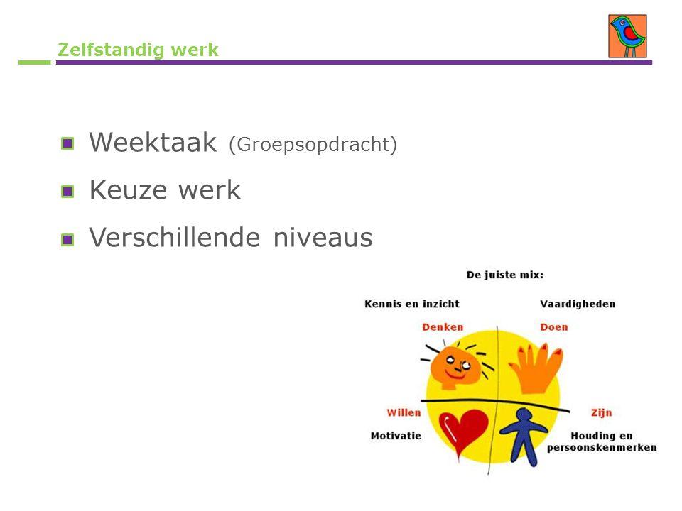 Zelfstandig werk Weektaak (Groepsopdracht) Keuze werk Verschillende niveaus