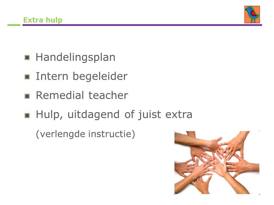 Extra hulp Handelingsplan Intern begeleider Remedial teacher Hulp, uitdagend of juist extra (verlengde instructie)