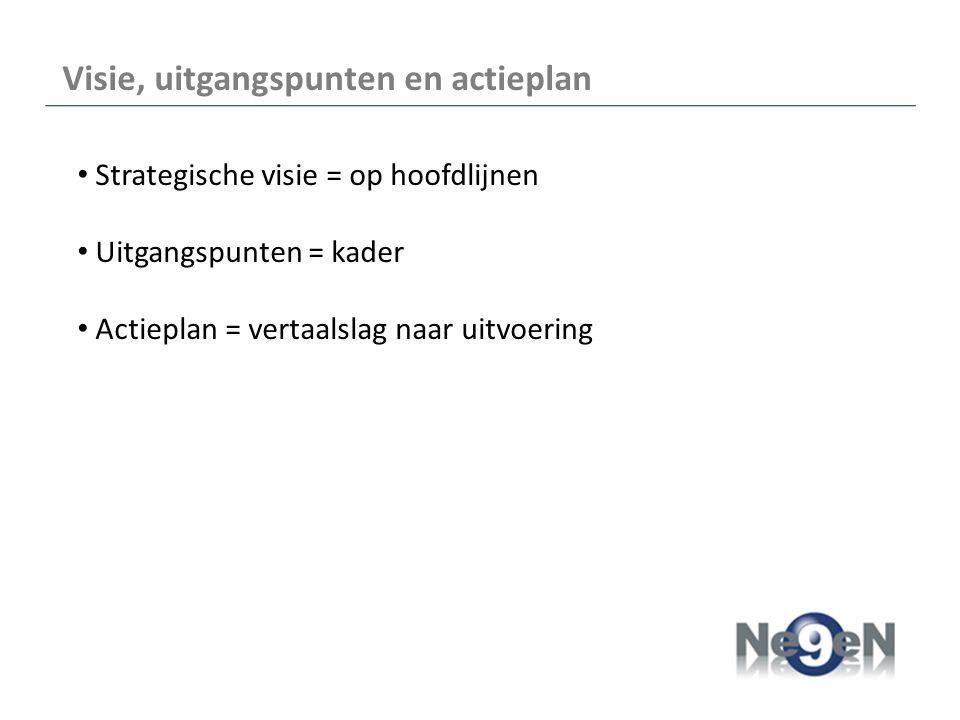 Visie, uitgangspunten en actieplan Strategische visie = op hoofdlijnen Uitgangspunten = kader Actieplan = vertaalslag naar uitvoering