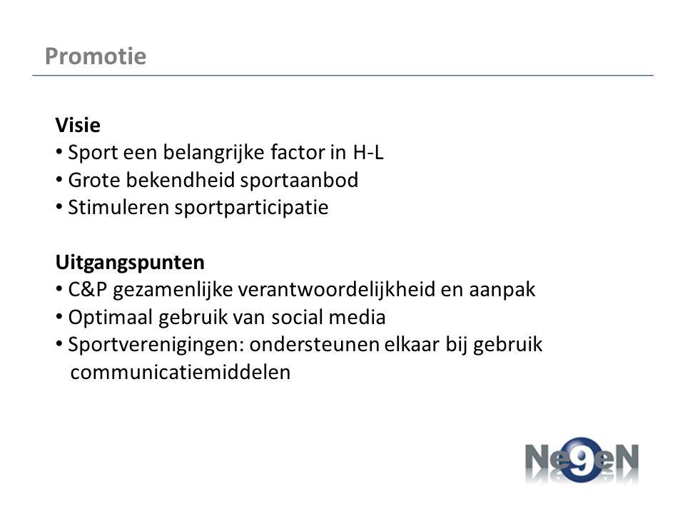 Promotie Visie Sport een belangrijke factor in H-L Grote bekendheid sportaanbod Stimuleren sportparticipatie Uitgangspunten C&P gezamenlijke verantwoordelijkheid en aanpak Optimaal gebruik van social media Sportverenigingen: ondersteunen elkaar bij gebruik communicatiemiddelen