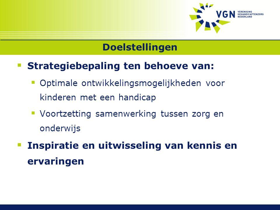 Doelstellingen  Strategiebepaling ten behoeve van:  Optimale ontwikkelingsmogelijkheden voor kinderen met een handicap  Voortzetting samenwerking tussen zorg en onderwijs  Inspiratie en uitwisseling van kennis en ervaringen