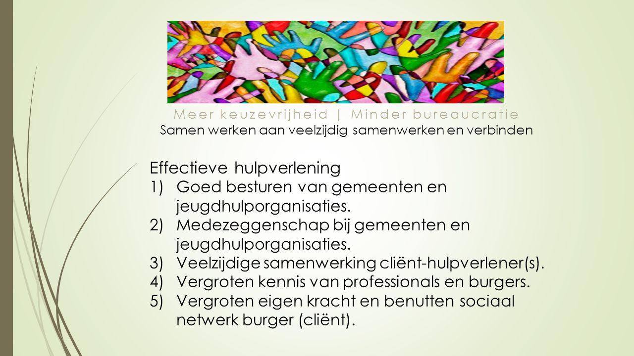 Meer keuzevrijheid | Minder bureaucratie Samen werken aan veelzijdig samenwerken en verbinden Effectieve hulpverlening 1)Goed besturen van gemeenten en jeugdhulporganisaties.