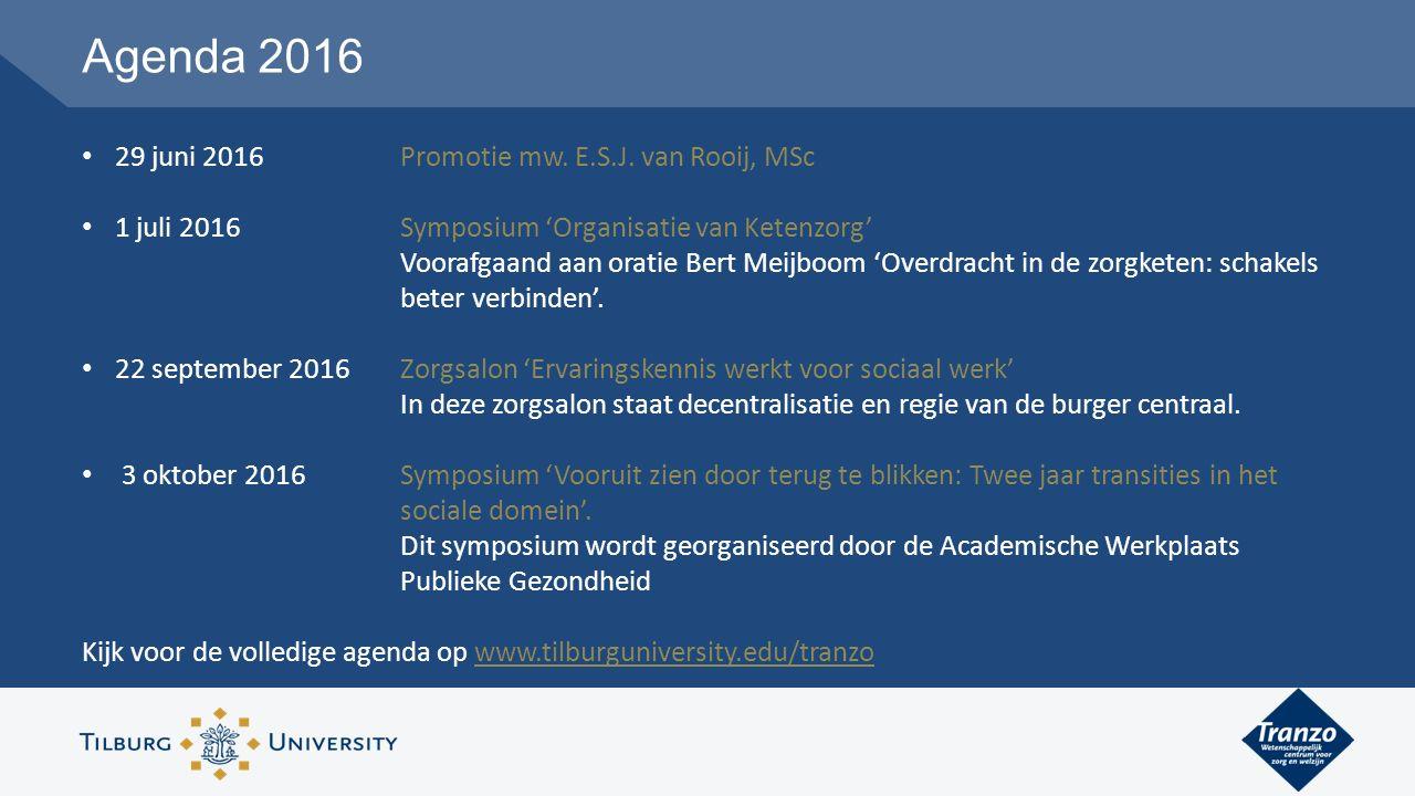 Agenda 2016 29 juni 2016 Promotie mw. E.S.J.