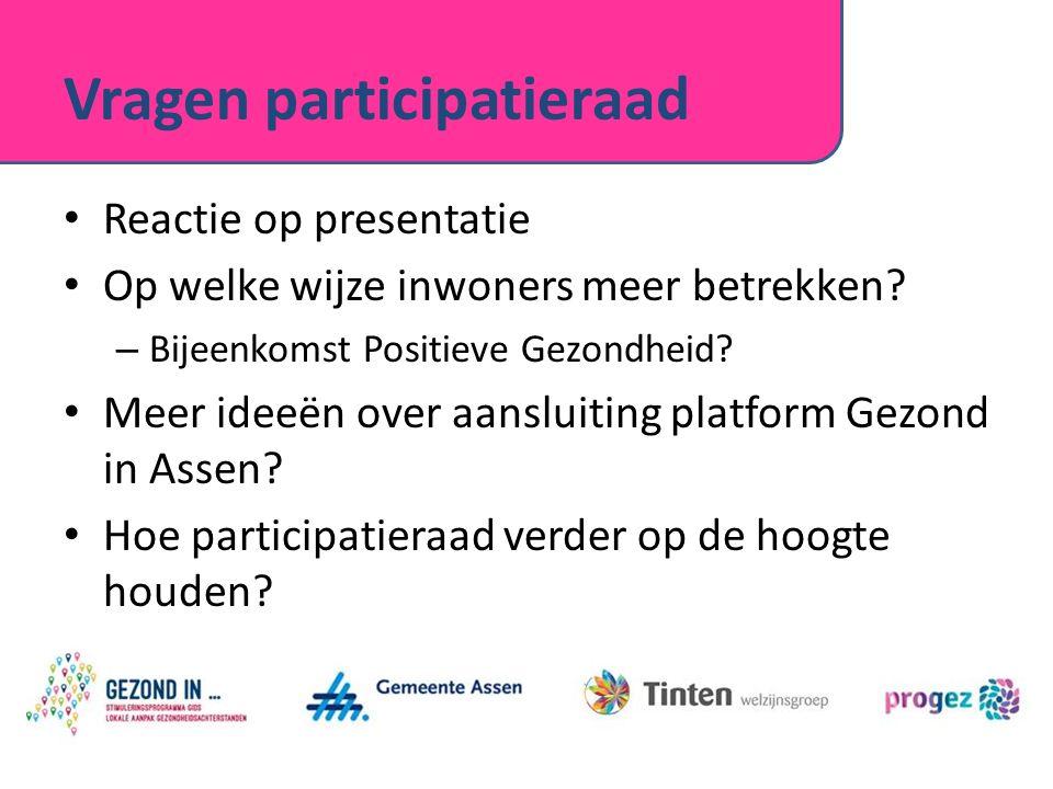 Vragen participatieraad Reactie op presentatie Op welke wijze inwoners meer betrekken? – Bijeenkomst Positieve Gezondheid? Meer ideeën over aansluitin