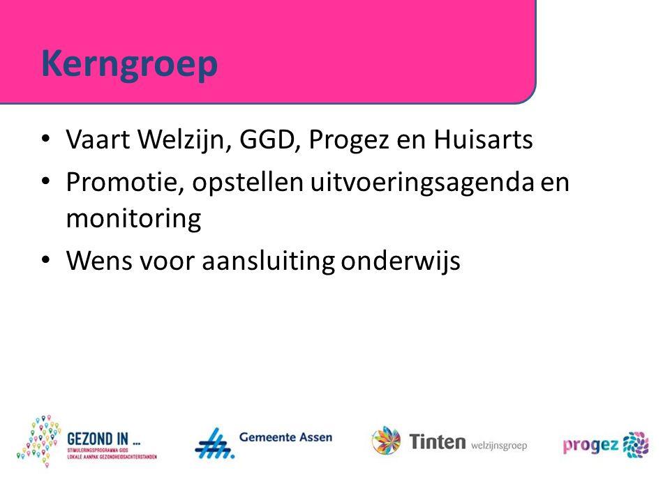 Kerngroep Vaart Welzijn, GGD, Progez en Huisarts Promotie, opstellen uitvoeringsagenda en monitoring Wens voor aansluiting onderwijs