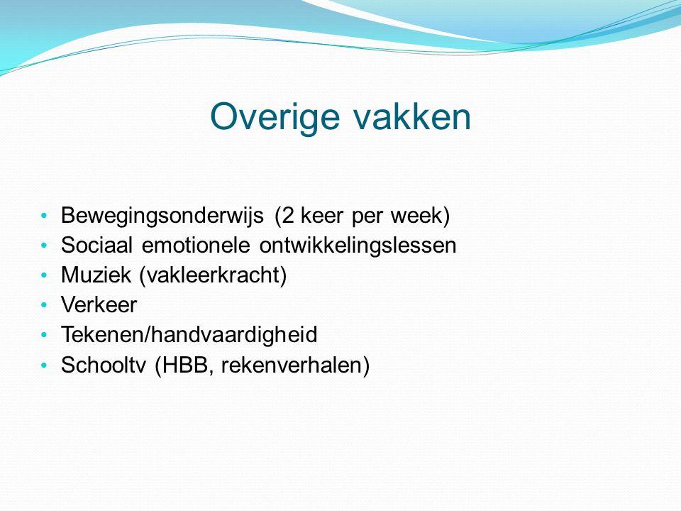 Overige vakken Bewegingsonderwijs (2 keer per week) Sociaal emotionele ontwikkelingslessen Muziek (vakleerkracht) Verkeer Tekenen/handvaardigheid Schooltv (HBB, rekenverhalen)