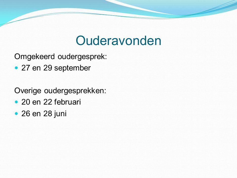 Omgekeerd oudergesprek: 27 en 29 september Overige oudergesprekken: 20 en 22 februari 26 en 28 juni Ouderavonden