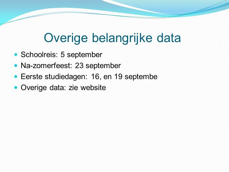 Overige belangrijke data Schoolreis: 5 september Na-zomerfeest: 23 september Eerste studiedagen: 16, en 19 septembe Overige data: zie website