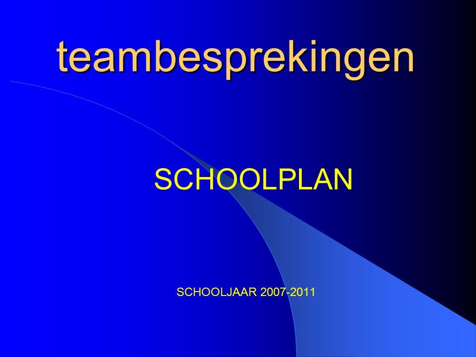 teambesprekingen SCHOOLJAAR 2007-2011 SCHOOLPLAN