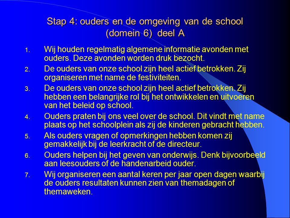 Stap 4: ouders en de omgeving van de school (domein 6) deel A 1.