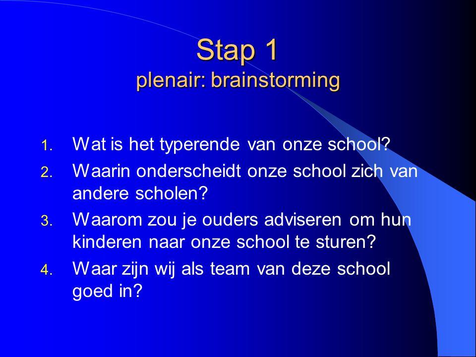 Stap 1 plenair: brainstorming 1. Wat is het typerende van onze school.
