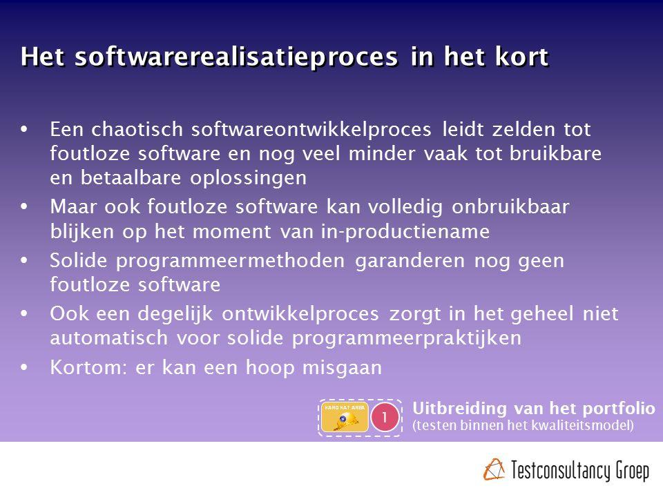 Het softwarerealisatieproces in het kort  Een chaotisch softwareontwikkelproces leidt zelden tot foutloze software en nog veel minder vaak tot bruikb