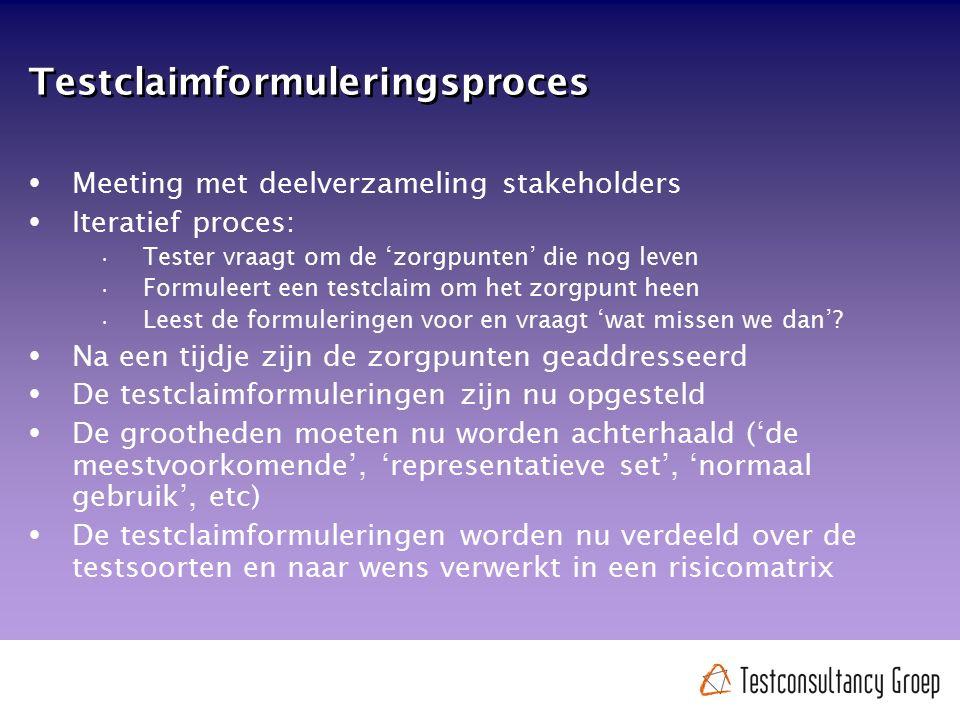Testclaimformuleringsproces  Meeting met deelverzameling stakeholders  Iteratief proces: Tester vraagt om de 'zorgpunten' die nog leven Formuleert e