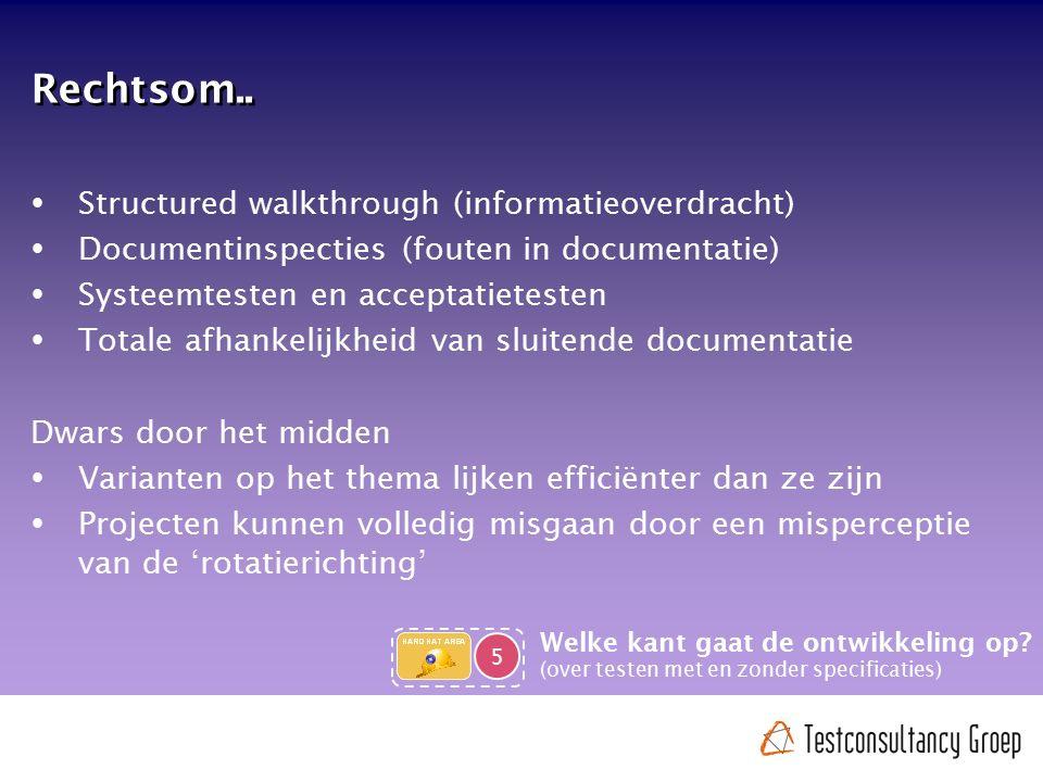 Rechtsom..  Structured walkthrough (informatieoverdracht)  Documentinspecties (fouten in documentatie)  Systeemtesten en acceptatietesten  Totale