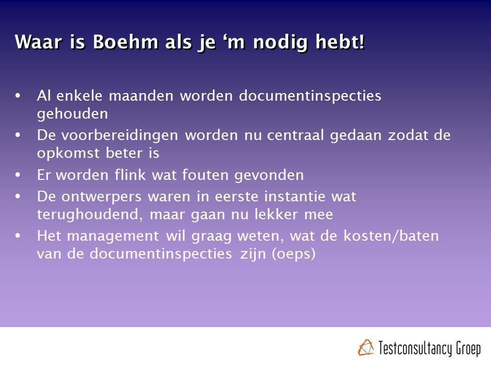Waar is Boehm als je 'm nodig hebt!  Al enkele maanden worden documentinspecties gehouden  De voorbereidingen worden nu centraal gedaan zodat de opk