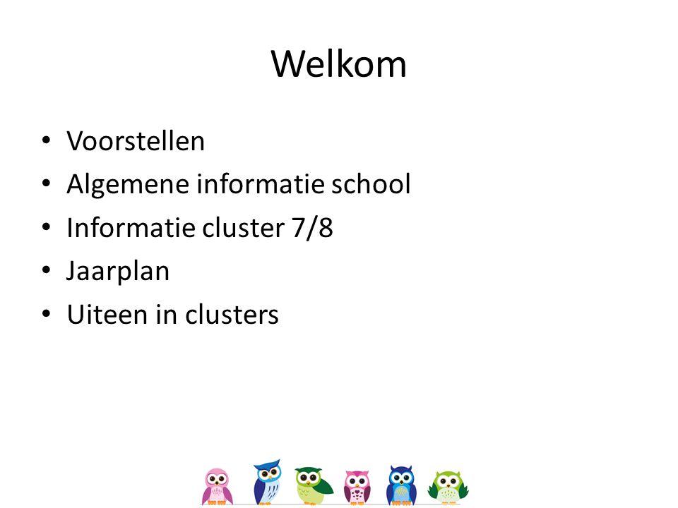Welkom Voorstellen Algemene informatie school Informatie cluster 7/8 Jaarplan Uiteen in clusters
