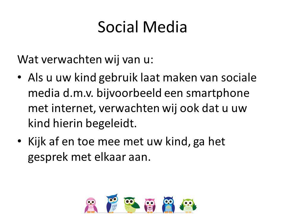 Social Media Wat verwachten wij van u: Als u uw kind gebruik laat maken van sociale media d.m.v.